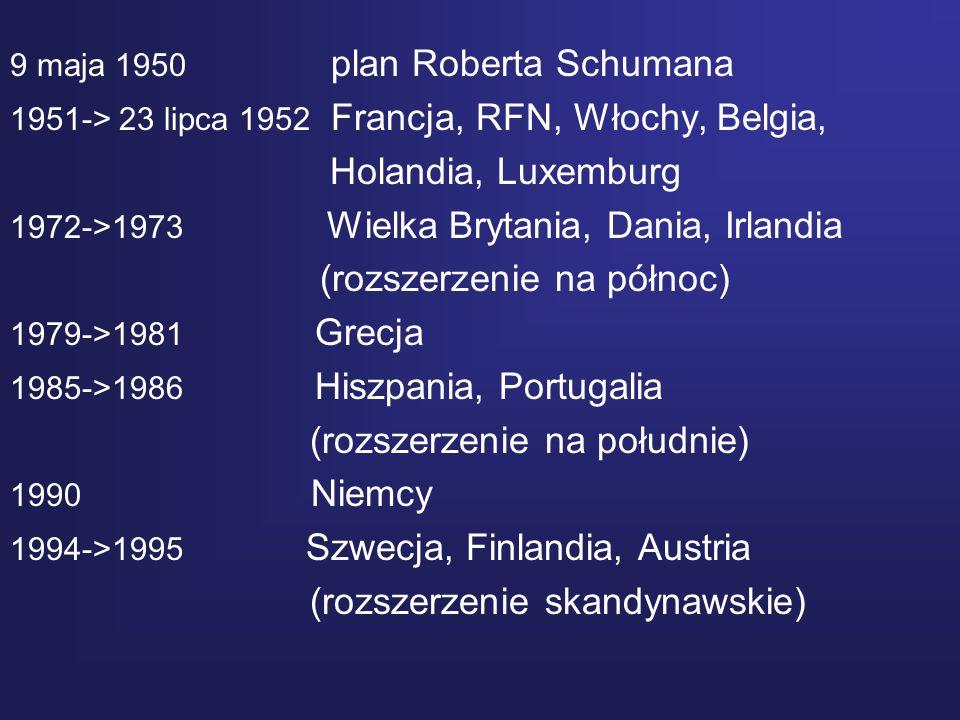 9 maja 1950 plan Roberta Schumana 1951-> 23 lipca 1952 Francja, RFN, Włochy, Belgia, Holandia, Luxemburg 1972->1973 Wielka Brytania, Dania, Irlandia (