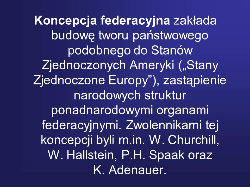 Koncepcja federacyjna zakłada budowę tworu państwowego podobnego do Stanów Zjednoczonych Ameryki (Stany Zjednoczone Europy), zastąpienie narodowych st