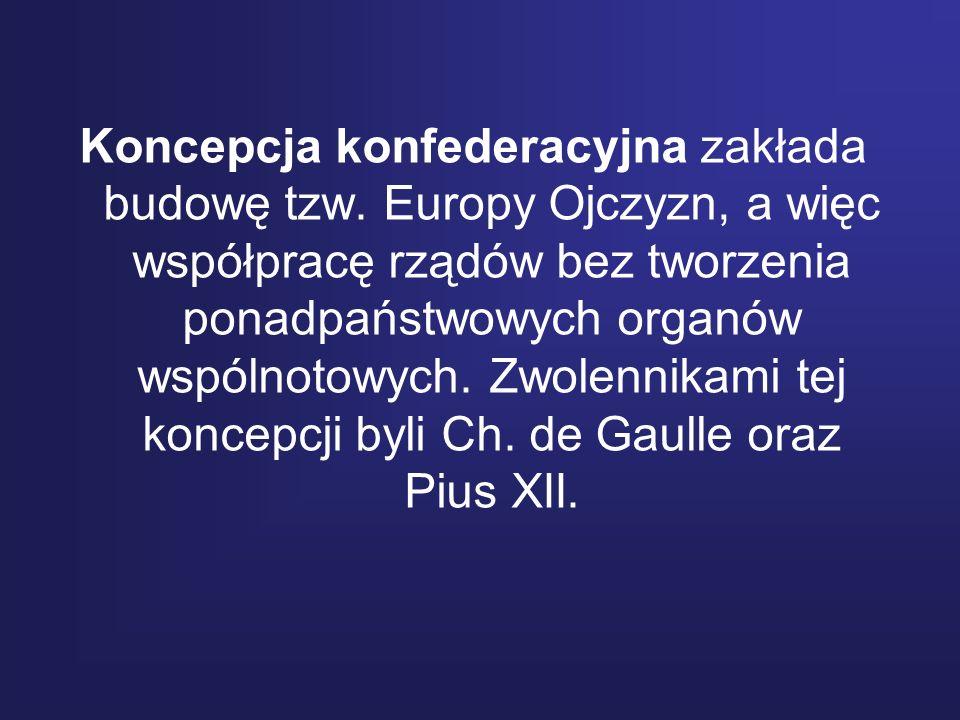 Koncepcja konfederacyjna zakłada budowę tzw. Europy Ojczyzn, a więc współpracę rządów bez tworzenia ponadpaństwowych organów wspólnotowych. Zwolennika