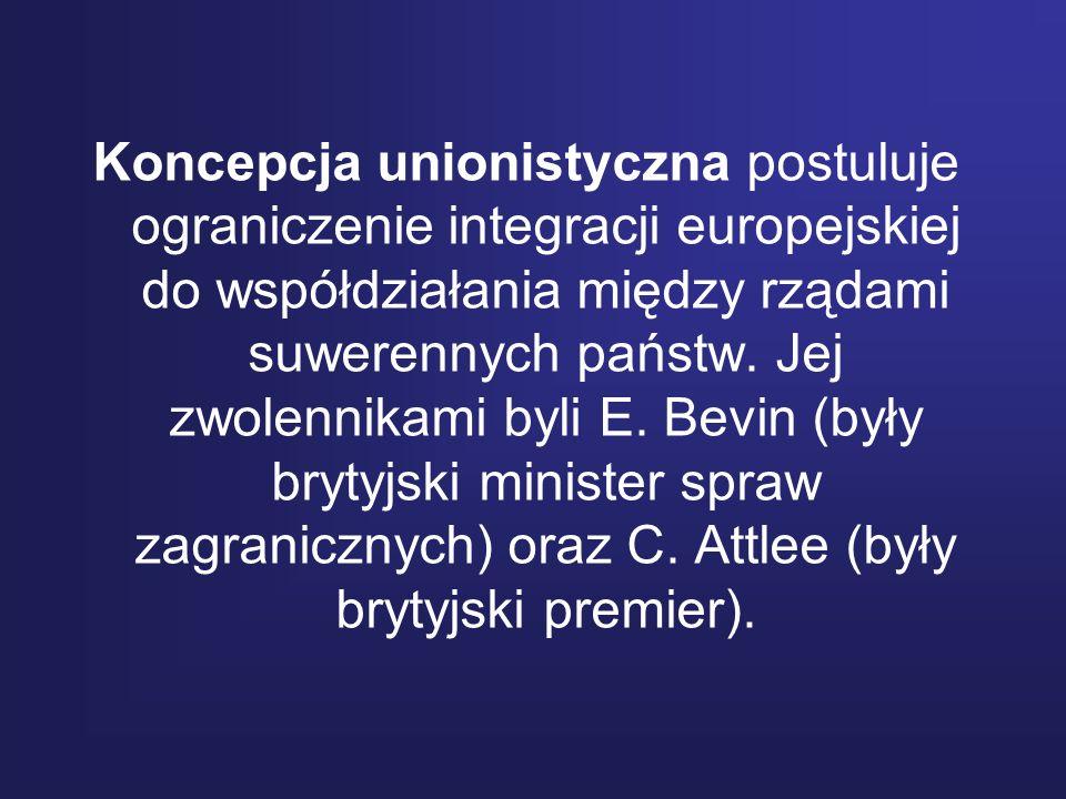 Koncepcja unionistyczna postuluje ograniczenie integracji europejskiej do współdziałania między rządami suwerennych państw. Jej zwolennikami byli E. B
