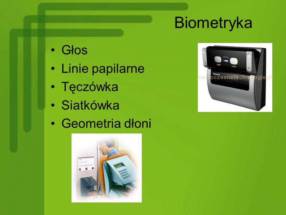 Biometryka Głos Linie papilarne Tęczówka Siatkówka Geometria dłoni
