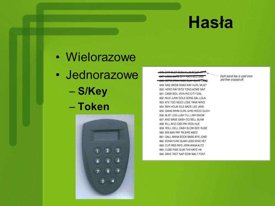 Hasła Wielorazowe Jednorazowe –S/Key –Token