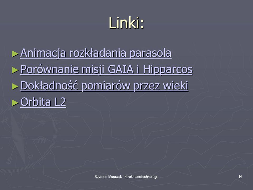 Szymon Murawski, 4 rok nanotechnologii14 Linki: Animacja rozkładania parasola Animacja rozkładania parasola Animacja rozkładania parasola Animacja roz