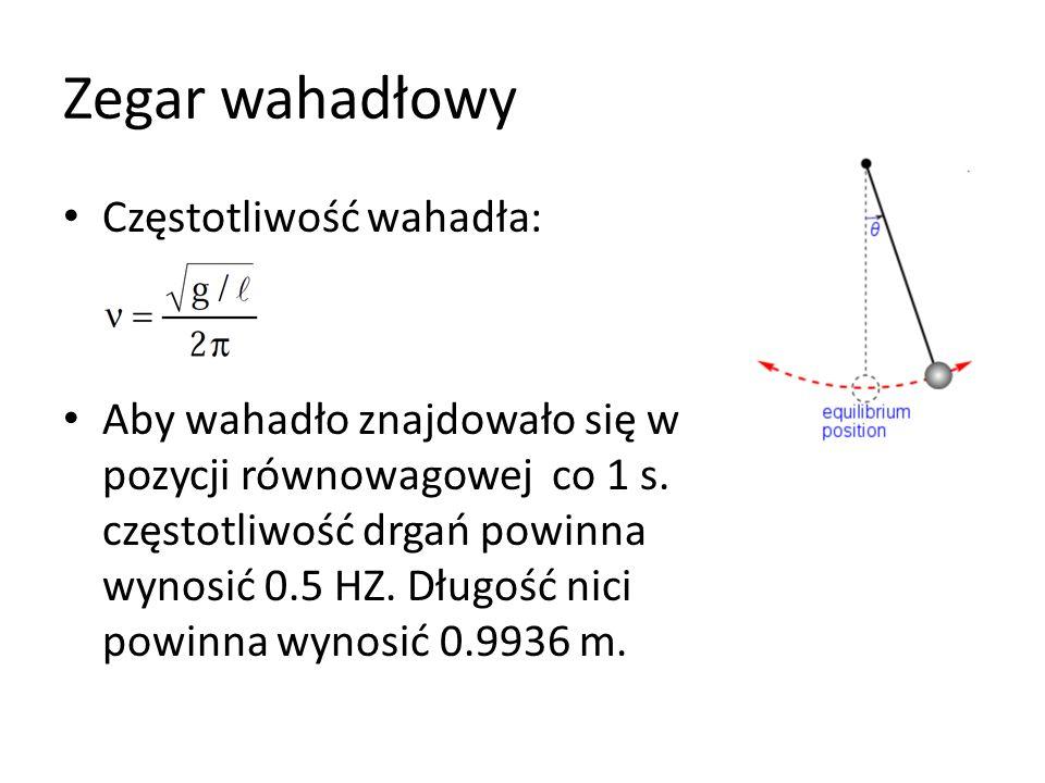 Zegar wahadłowy Częstotliwość wahadła: Aby wahadło znajdowało się w pozycji równowagowej co 1 s.