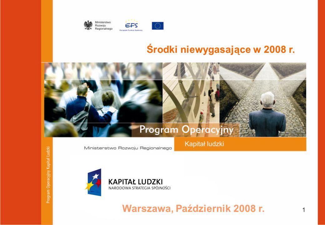 1 Warszawa, Październik 2008 r. Środki niewygasające w 2008 r.