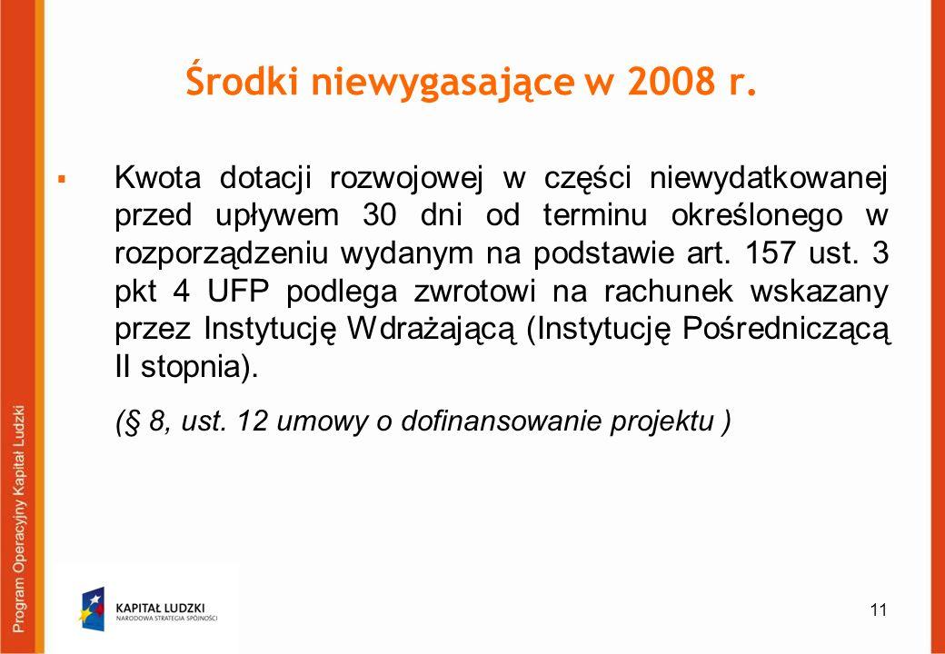 11 Środki niewygasające w 2008 r. Kwota dotacji rozwojowej w części niewydatkowanej przed upływem 30 dni od terminu określonego w rozporządzeniu wydan
