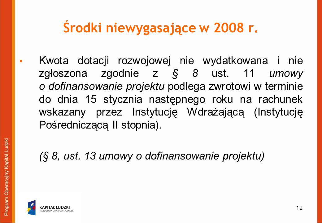 12 Środki niewygasające w 2008 r. Kwota dotacji rozwojowej nie wydatkowana i nie zgłoszona zgodnie z § 8 ust. 11 umowy o dofinansowanie projektu podle