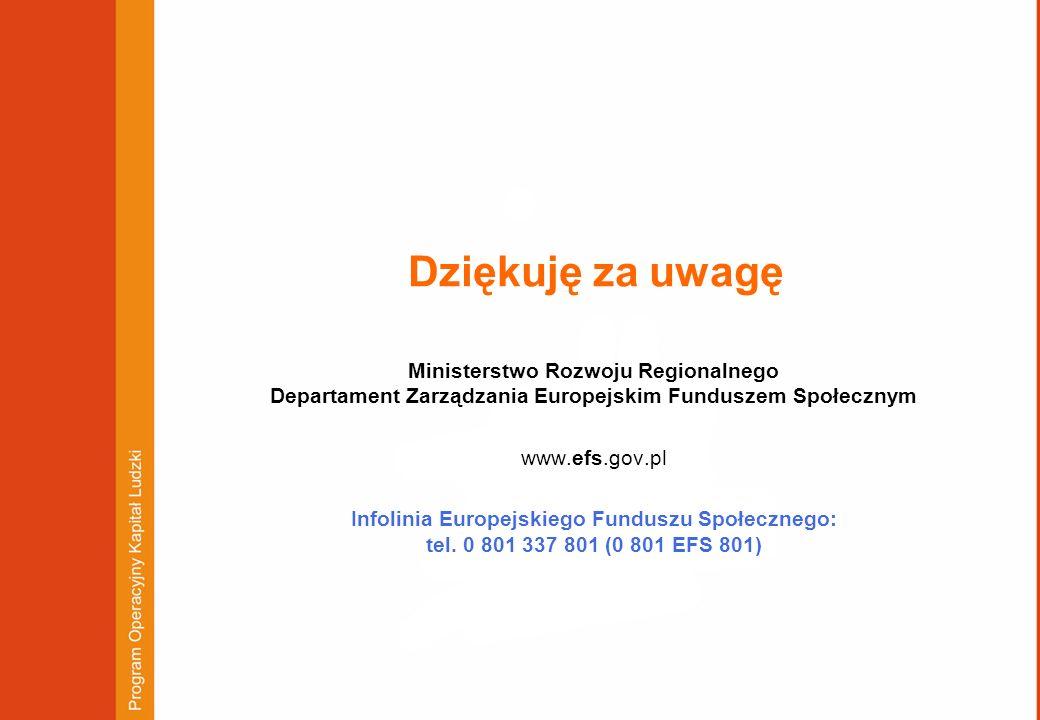 Dziękuję za uwagę Ministerstwo Rozwoju Regionalnego Departament Zarządzania Europejskim Funduszem Społecznym www.efs.gov.pl Infolinia Europejskiego Fu