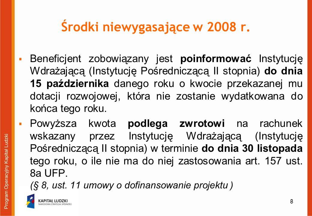 9 Środki niewygasające w 2008 r.