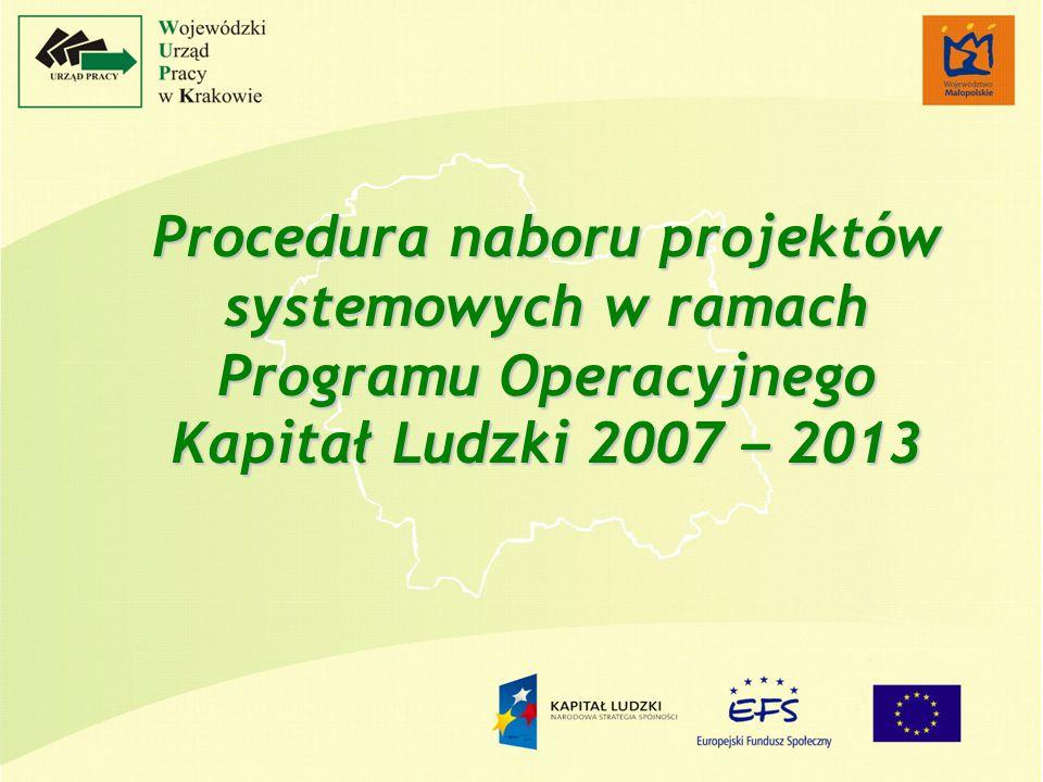 Procedura naboru projektów systemowych w ramach Programu Operacyjnego Kapitał Ludzki 2007 – 2013