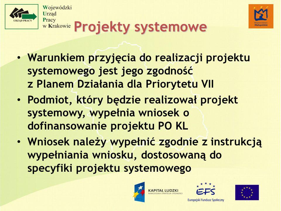 Projekty systemowe Warunkiem przyjęcia do realizacji projektu systemowego jest jego zgodność z Planem Działania dla Priorytetu VII Podmiot, który będz