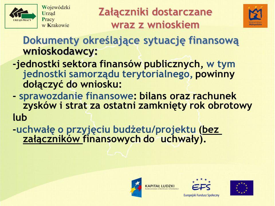 Załączniki dostarczane wraz z wnioskiem Dokumenty określające sytuację finansową wnioskodawcy: -jednostki sektora finansów publicznych, w tym jednostk