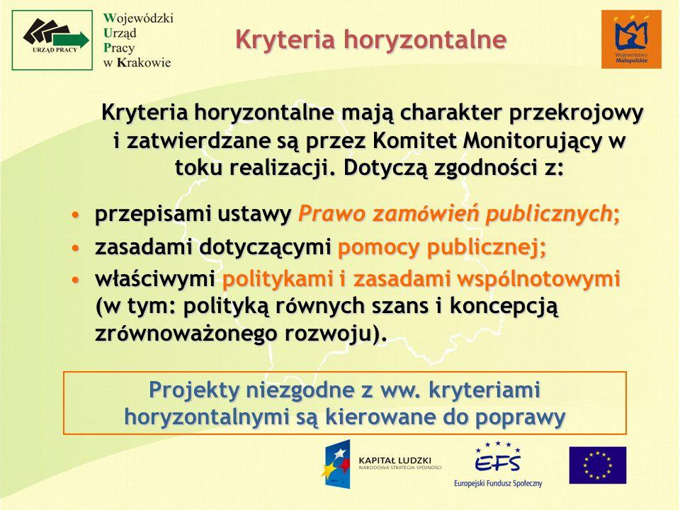 Kryteria horyzontalne Kryteria horyzontalne mają charakter przekrojowy i zatwierdzane są przez Komitet Monitorujący w toku realizacji. Dotyczą zgodnoś