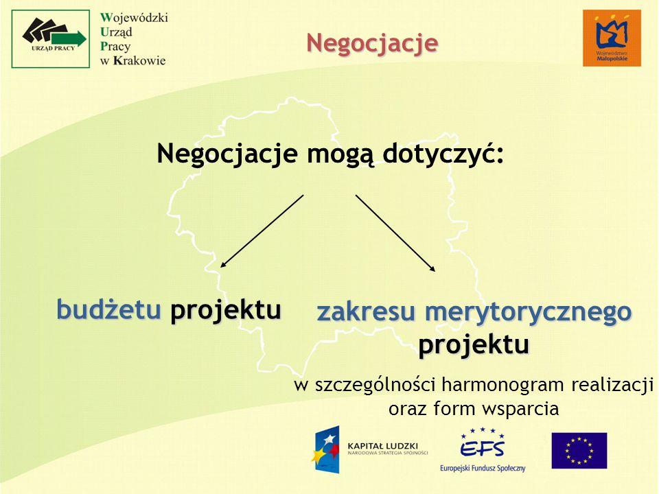 Negocjacje mogą dotyczyć: budżetu projektu zakresu merytorycznego projektu w szczególności harmonogram realizacji oraz form wsparcia Negocjacje