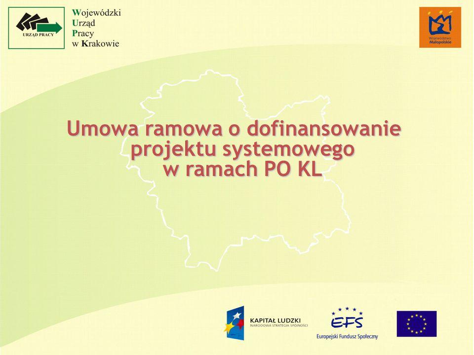 Umowa ramowa o dofinansowanie projektu systemowego w ramach PO KL