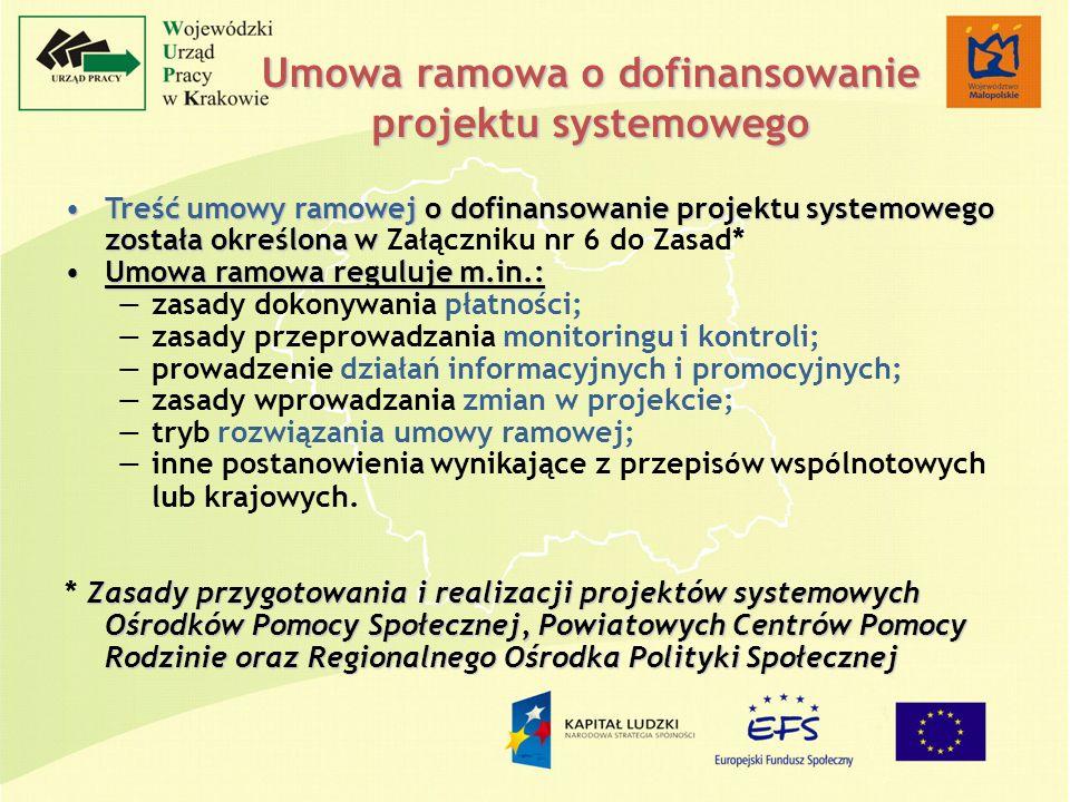 Treść umowy ramowej o dofinansowanie projektu systemowego została określona wTreść umowy ramowej o dofinansowanie projektu systemowego została określo