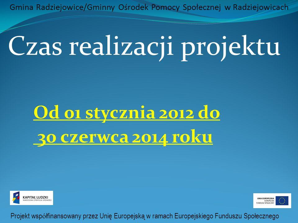 Projekt wsp ó łfinansowany przez Unię Europejską w ramach Europejskiego Funduszu Społecznego Gmina Radziejowice/Gminny Ośrodek Pomocy Społecznej w Radziejowicach Czas realizacji projektu Od 01 stycznia 2012 do 30 czerwca 2014 roku