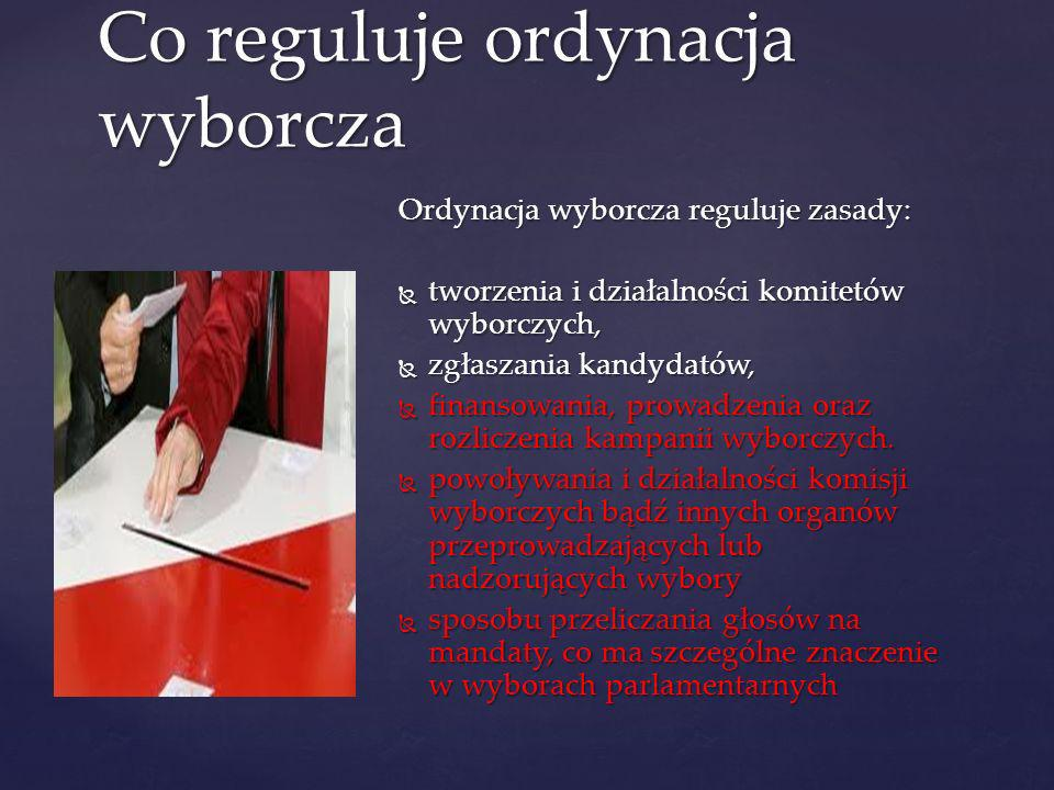 Ordynacja wyborcza reguluje zasady: tworzenia i działalności komitetów wyborczych, tworzenia i działalności komitetów wyborczych, zgłaszania kandydató
