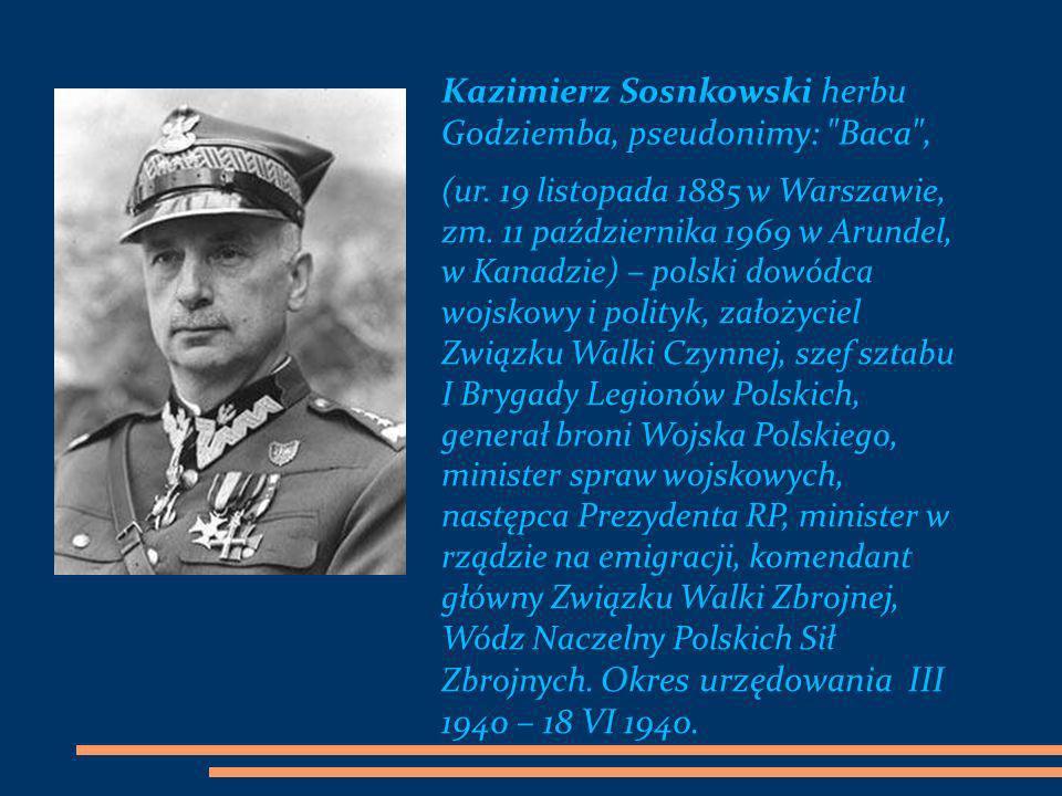 Kazimierz Sosnkowski herbu Godziemba, pseudonimy: