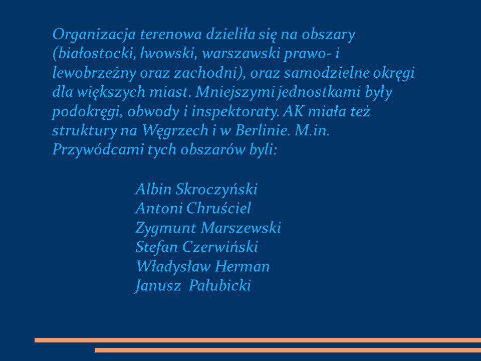 Organizacja terenowa dzieliła się na obszary (białostocki, lwowski, warszawski prawo- i lewobrzeżny oraz zachodni), oraz samodzielne okręgi dla większ