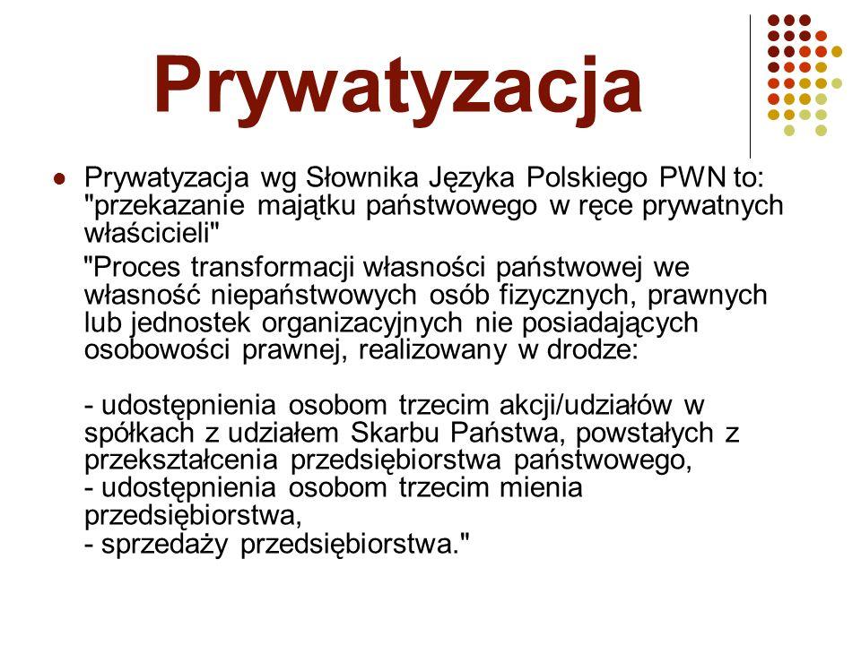 Prywatyzacja Prywatyzacja wg Słownika Języka Polskiego PWN to: przekazanie majątku państwowego w ręce prywatnych właścicieli Proces transformacji własności państwowej we własność niepaństwowych osób fizycznych, prawnych lub jednostek organizacyjnych nie posiadających osobowości prawnej, realizowany w drodze: - udostępnienia osobom trzecim akcji/udziałów w spółkach z udziałem Skarbu Państwa, powstałych z przekształcenia przedsiębiorstwa państwowego, - udostępnienia osobom trzecim mienia przedsiębiorstwa, - sprzedaży przedsiębiorstwa.