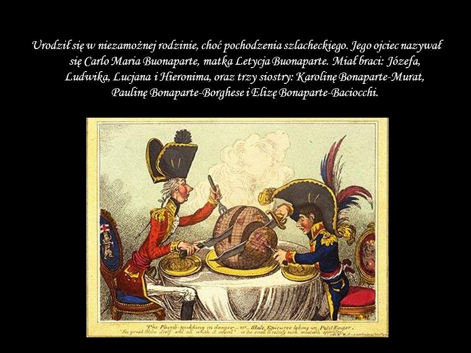 Urodził się w niezamożnej rodzinie, choć pochodzenia szlacheckiego. Jego ojciec nazywał się Carlo Maria Buonaparte, matka Letycja Buonaparte. Miał bra