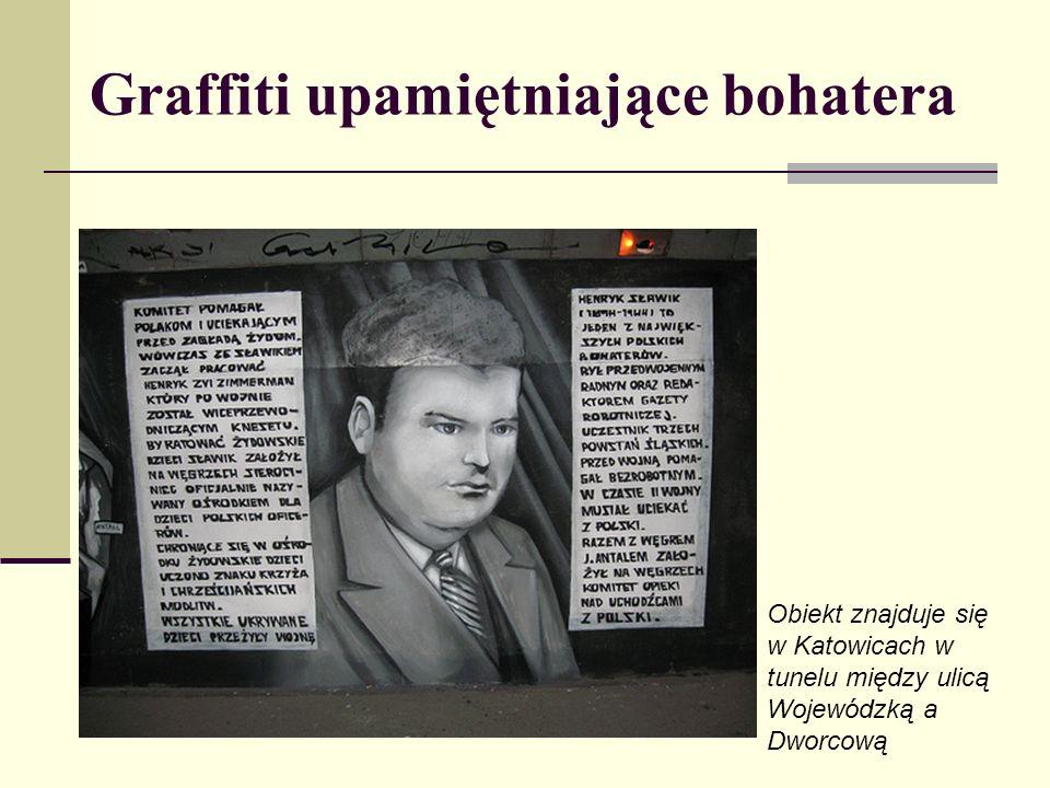 Graffiti upamiętniające bohatera Obiekt znajduje się w Katowicach w tunelu między ulicą Wojewódzką a Dworcową