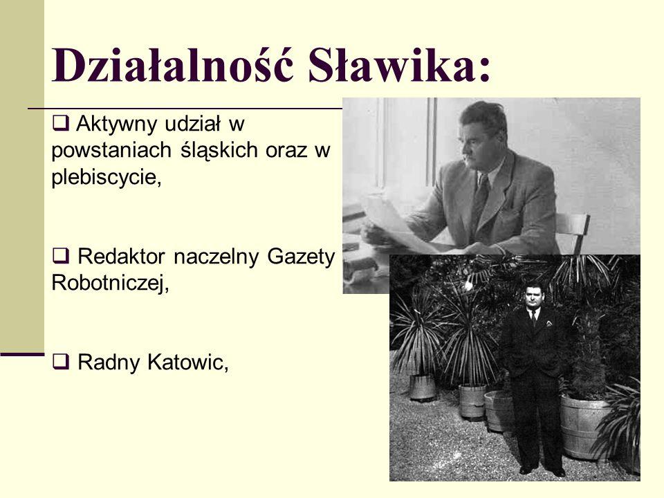 Działalność Sławika: Aktywny udział w powstaniach śląskich oraz w plebiscycie, Redaktor naczelny Gazety Robotniczej, Radny Katowic,