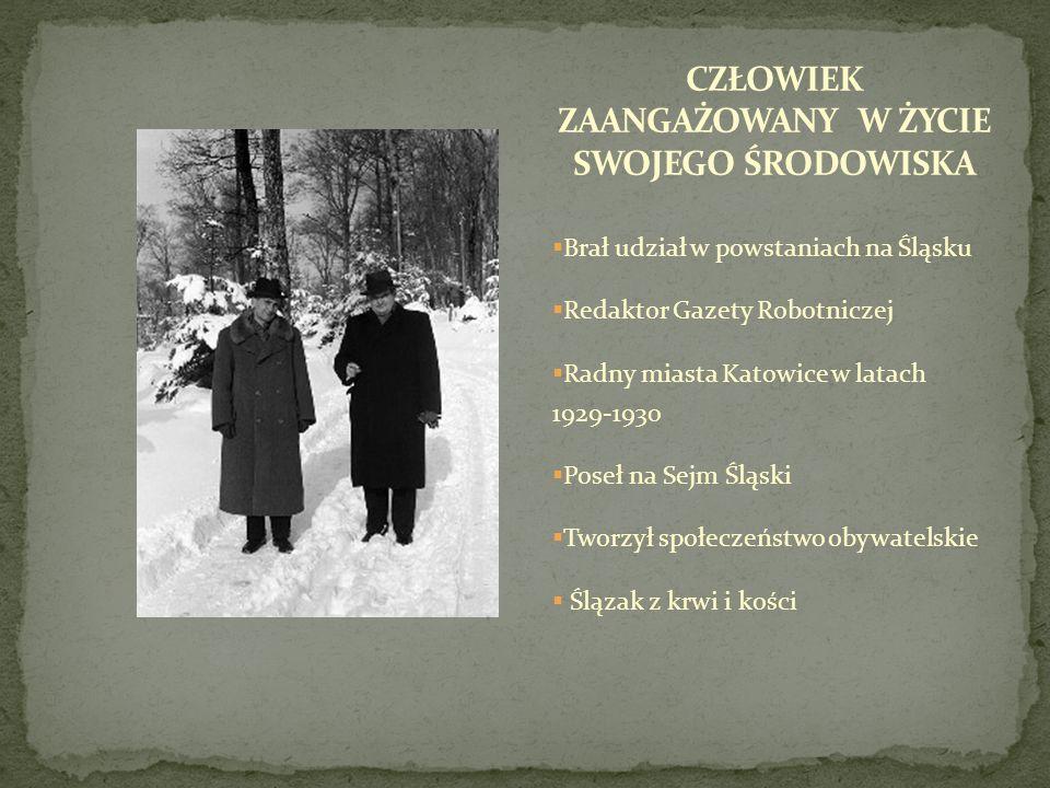 Brał udział w powstaniach na Śląsku Redaktor Gazety Robotniczej Radny miasta Katowice w latach 1929-1930 Poseł na Sejm Śląski Tworzył społeczeństwo ob