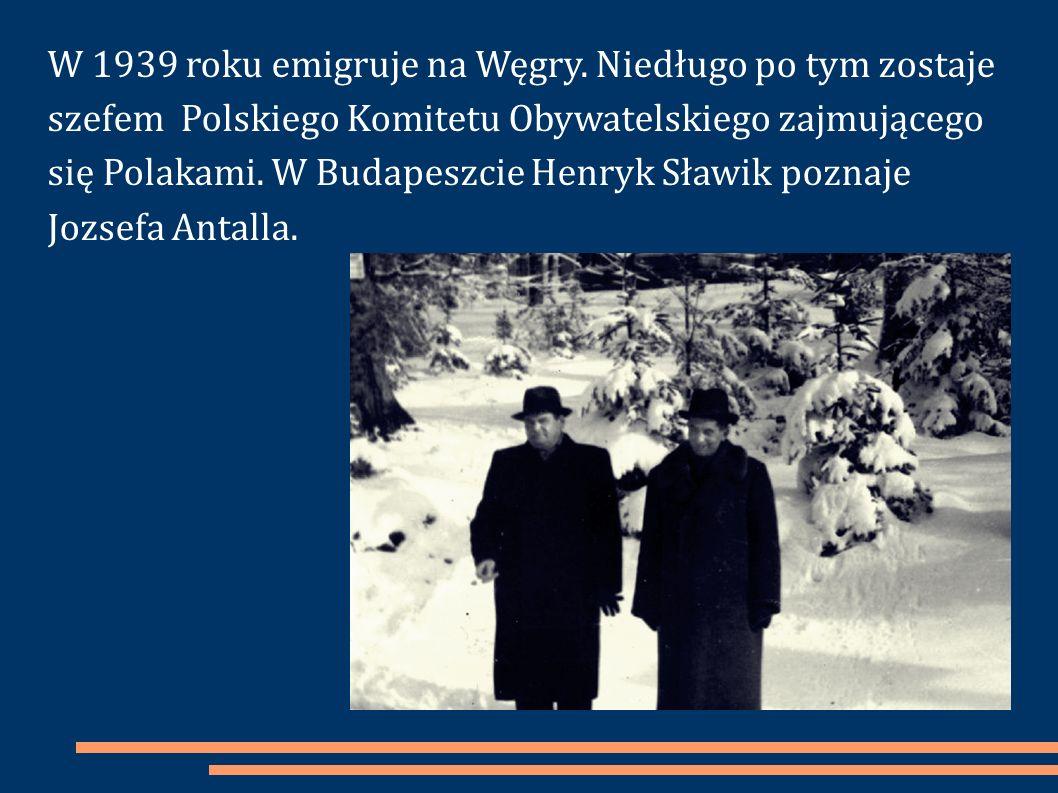 W 1939 roku emigruje na Węgry. Niedługo po tym zostaje szefem Polskiego Komitetu Obywatelskiego zajmującego się Polakami. W Budapeszcie Henryk Sławik