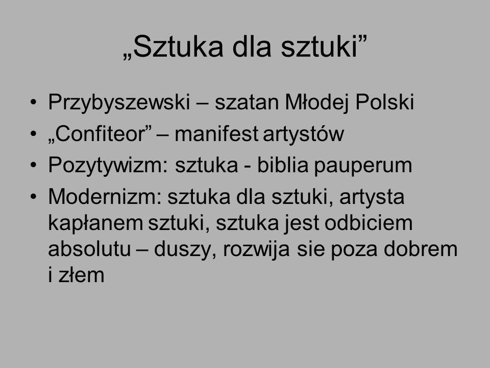 Sztuka dla sztuki Przybyszewski – szatan Młodej Polski Confiteor – manifest artystów Pozytywizm: sztuka - biblia pauperum Modernizm: sztuka dla sztuki