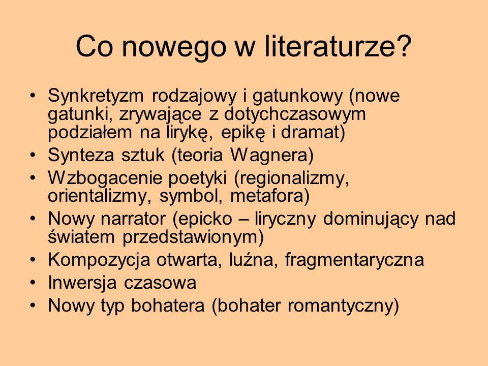 Co nowego w literaturze? Synkretyzm rodzajowy i gatunkowy (nowe gatunki, zrywające z dotychczasowym podziałem na lirykę, epikę i dramat) Synteza sztuk