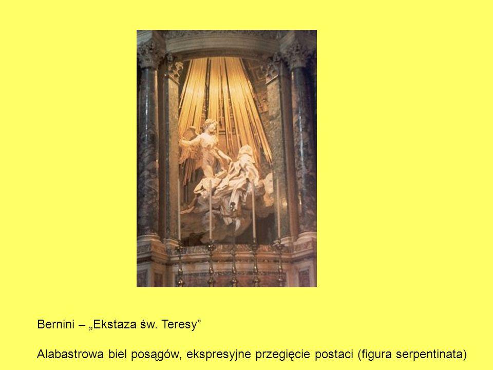 Bernini – Ekstaza św. Teresy Alabastrowa biel posągów, ekspresyjne przegięcie postaci (figura serpentinata)