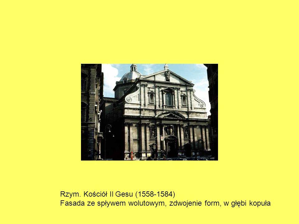 Rzym. Kościół Il Gesu (1558-1584) Fasada ze spływem wolutowym, zdwojenie form, w głębi kopuła