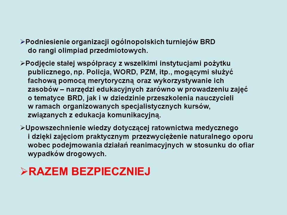Podniesienie organizacji ogólnopolskich turniejów BRD do rangi olimpiad przedmiotowych. Podjęcie stałej współpracy z wszelkimi instytucjami pożytku pu