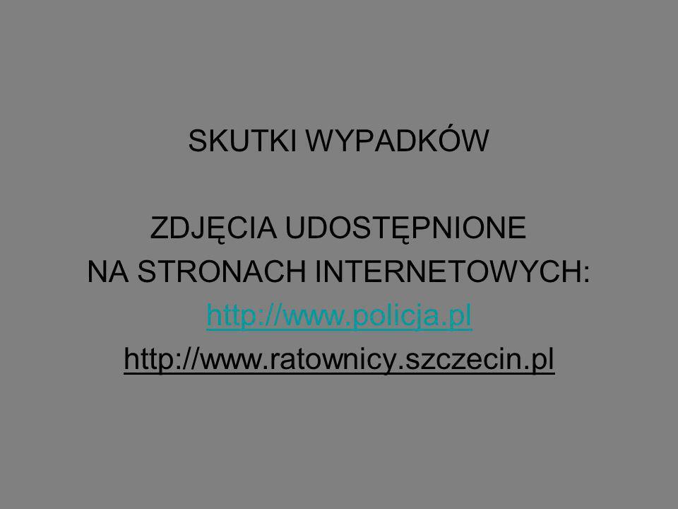 SKUTKI WYPADKÓW ZDJĘCIA UDOSTĘPNIONE NA STRONACH INTERNETOWYCH: http://www.policja.pl http://www.ratownicy.szczecin.pl