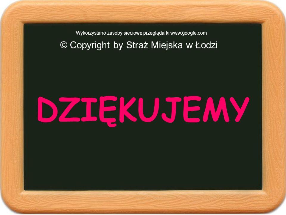 © Copyright by Straż Miejska w Łodzi Wykorzystano zasoby sieciowe przeglądarki www.google.com DZIĘKUJEMY