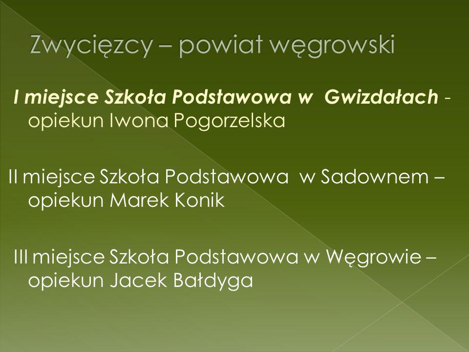 I miejsce Szkoła Podstawowa w Gwizdałach - opiekun Iwona Pogorzelska II miejsce Szkoła Podstawowa w Sadownem – opiekun Marek Konik III miejsce Szkoła Podstawowa w Węgrowie – opiekun Jacek Bałdyga