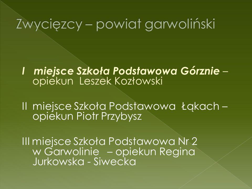 Szkoła Podstawowa w Górznie - 2 miejsce Szkoła Podstawowa Nr 4 w Sokołowie Podlaskim - 8 miejsce