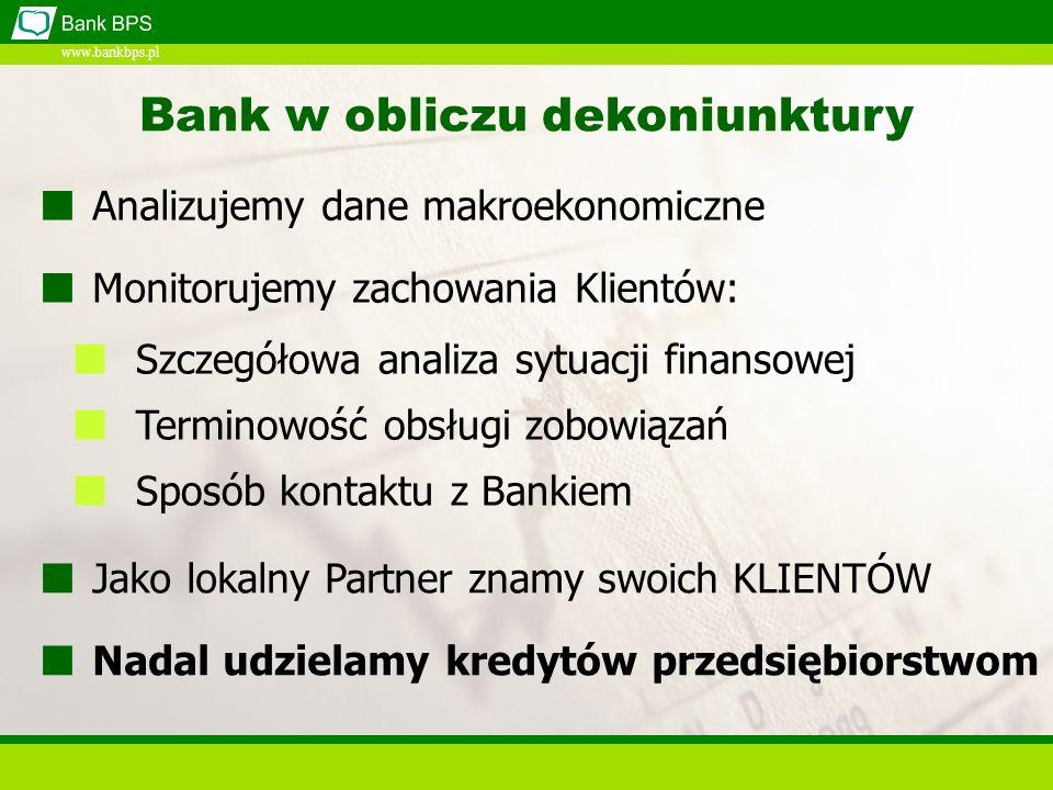 www.bankbps.pl Bank w obliczu dekoniunktury Szczegółowa analiza sytuacji finansowej Terminowość obsługi zobowiązań Sposób kontaktu z Bankiem Jako lokalny Partner znamy swoich KLIENTÓW Nadal udzielamy kredytów przedsiębiorstwom Analizujemy dane makroekonomiczne Monitorujemy zachowania Klientów: