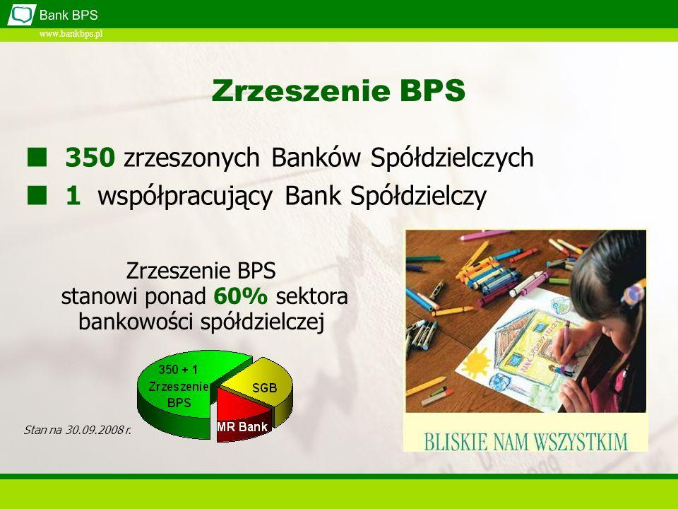 www.bankbps.pl Zrzeszenie BPS 350 zrzeszonych Banków Spółdzielczych 1 współpracujący Bank Spółdzielczy Stan na 30.09.2008 r.