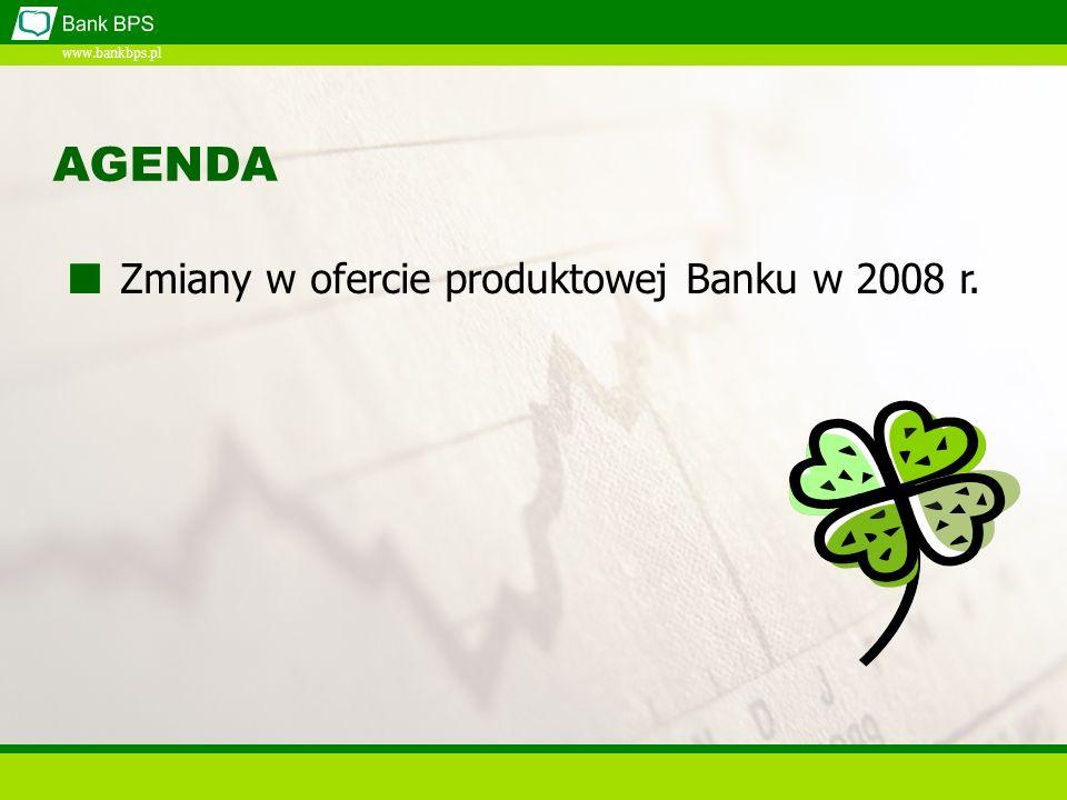 www.bankbps.pl AGENDA Zmiany w ofercie produktowej Banku w 2008 r.