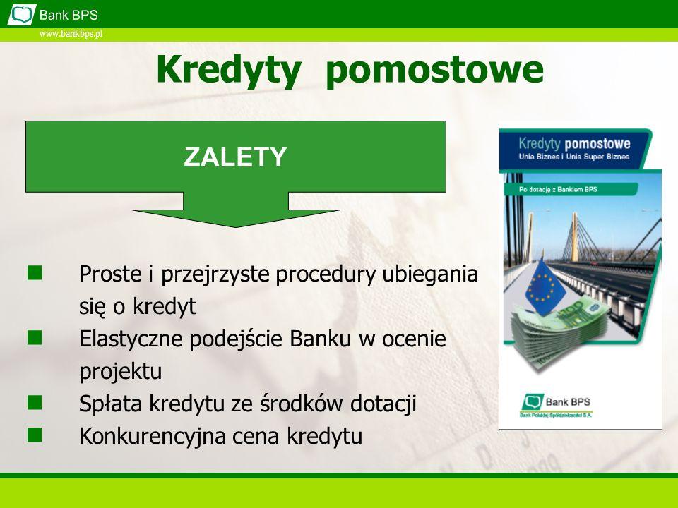 www.bankbps.pl Kredyt Na dobry początek Kredyt w ramach Pakietu Na dobry początek Minimum formalności Bez zaświadczeń ZUS i US Decyzja kredytowa w 48 h Bez zabezpieczeń rzeczowych ZALETY