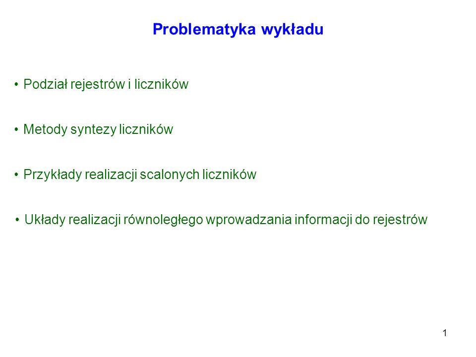1 Problematyka wykładu Podział rejestrów i liczników Metody syntezy liczników Przykłady realizacji scalonych liczników Układy realizacji równoległego