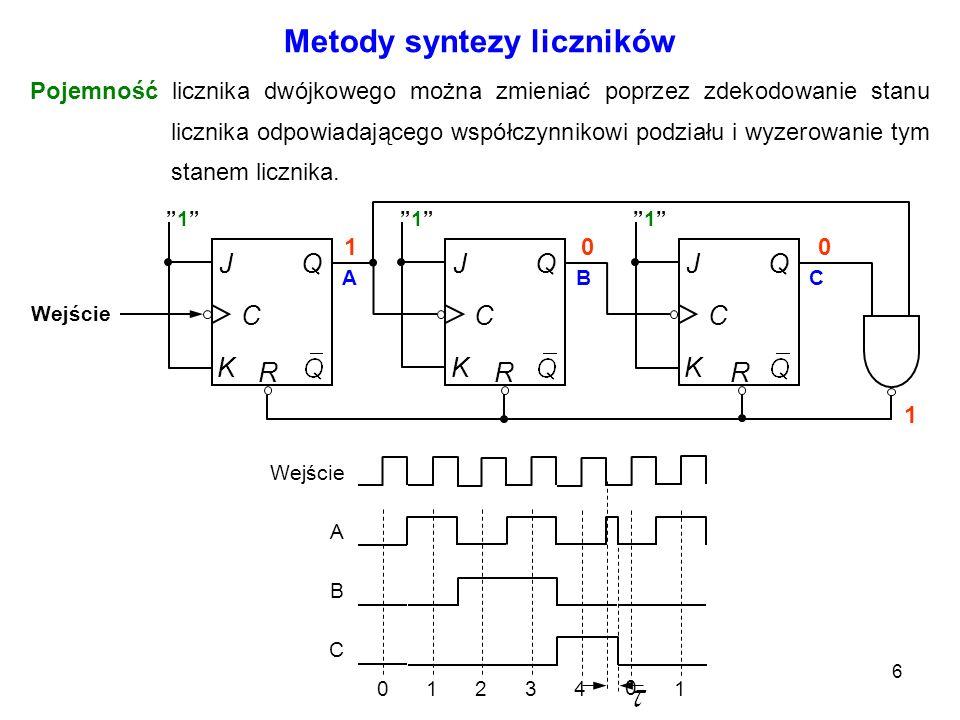 6 Pojemność licznika dwójkowego można zmieniać poprzez zdekodowanie stanu licznika odpowiadającego współczynnikowi podziału i wyzerowanie tym stanem l