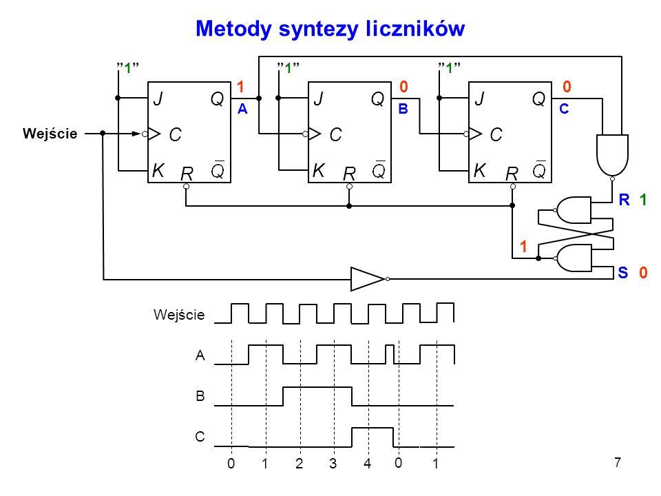 18 Realizacje scalone liczników asynchronicznych Programowalny dzielnik częstotliwości R0(1)R0(2) ABCD B we A we 7493 We x4x4 x3x3 x2x2 x1x1 X4X4 X3X3 X2X2 X1X1 Podział przez OOOO---- OOOZ1 OOZO2 OOZZ3 OZOO4 OZOZ5 OZZO6 OZZZ7 ZOOO8 ZOOZ9 ZOZO10 ZOZZ11 ZZOO12 ZZOZ13 ZZZO14 ZZZZ15 O – otwarte; Z - zamknięte Tablice programowania Przykład: Dzielnik_czestotliwosci_93.msm