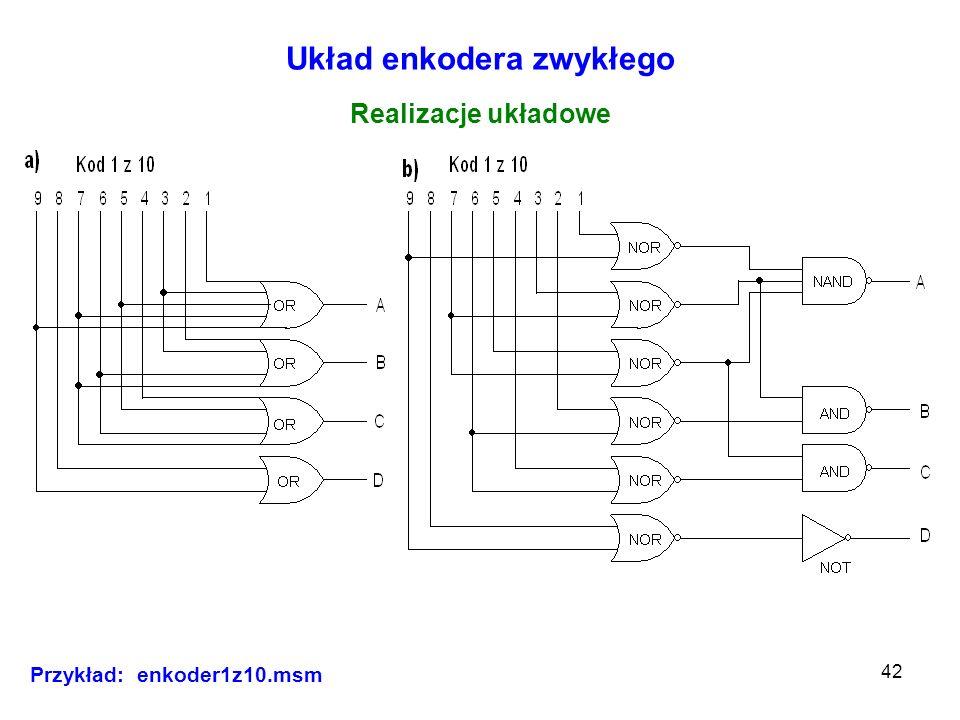 42 Układ enkodera zwykłego Realizacje układowe Przykład: enkoder1z10.msm