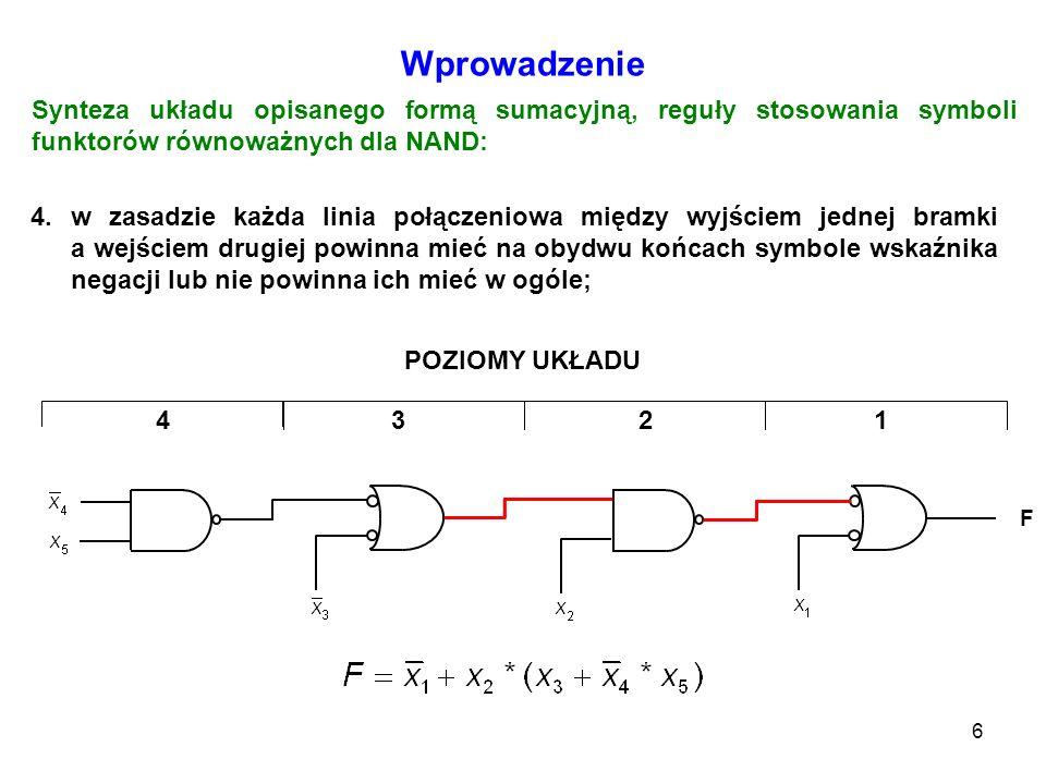7 Wprowadzenie 5.zmienne wprowadzane na wejścia ze wskaźnikami negacji są reprezentowane w formie boolowskiej przez swe dopełnienia; Synteza układu opisanego formą sumacyjną, reguły stosowania symboli funktorów równoważnych dla NAND: POZIOMY UKŁADU F 1234 6.zmienne wprowadzane na wejścia bez wskaźników negacji są reprezentowane w formie boolowskiej bez dopełnienia.