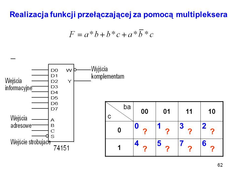 62 Realizacja funkcji przełączającej za pomocą multipleksera ba c 00011110 0 1 0132 4576 ???? ????