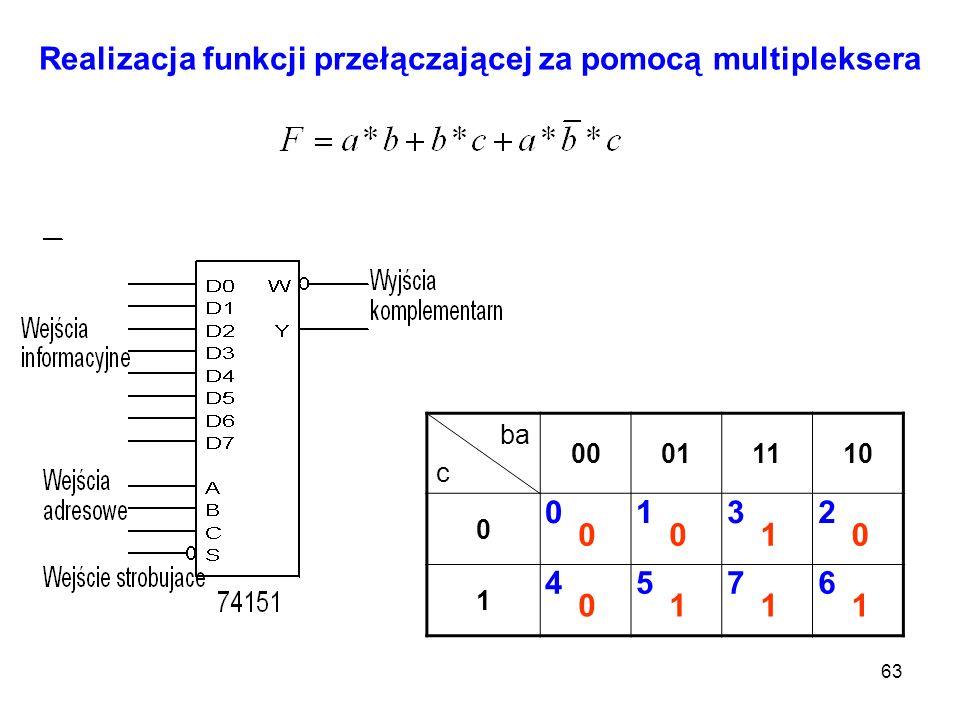 63 Realizacja funkcji przełączającej za pomocą multipleksera ba c 00011110 0 1 0132 4576 0010 0111